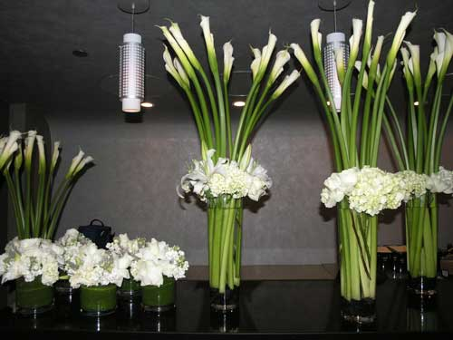 White Calla Party in Santa Monica CA, Edelweiss Flower Boutique