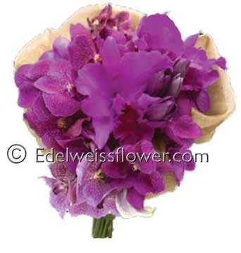 Purple Orchids Bridal Bouquet in Santa Monica CA, Edelweiss Flower Boutique