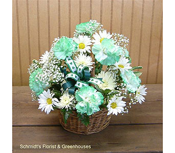 Green Carnation & Daisy Basket in Philadelphia PA, Schmidt's Florist & Greenhouses