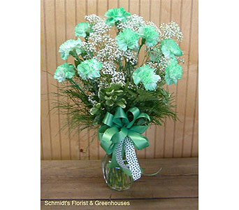 Vase of Green Carnation in Philadelphia PA, Schmidt's Florist & Greenhouses