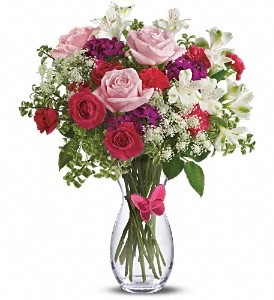 Pink Butterfly Bouquet by Teleflora in Cocoa FL, A Basket Of Love Florist