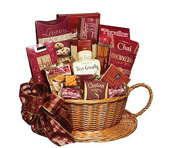 GF86 ''Tea-lightful'' Wicker Teacup Gourmet Basket in Oklahoma City OK, Array of Flowers & Gifts