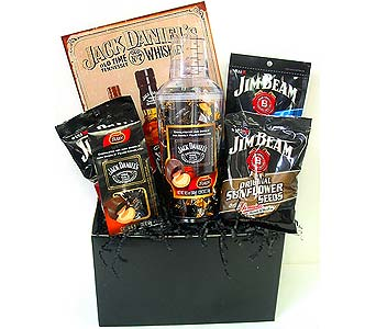 GF108 ''Jack Daniels and Jim Beam'' Gift Basket in Oklahoma City OK, Array of Flowers & Gifts