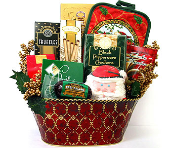 XGF122 ''Santa's Sweets'' Gourmet Food Basket in Oklahoma City OK, Array of Flowers & Gifts