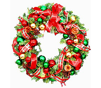 HW2472 ''Red & Green'' Christmas Wreath in Oklahoma City OK, Array of Flowers & Gifts