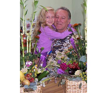 Milan & Dad Having a Little Fun at Work in Palm Desert CA, Milan's Flowers & Gifts