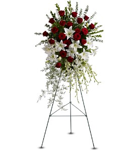 Lily and Rose Tribute Spray in Naperville IL, Naperville Florist