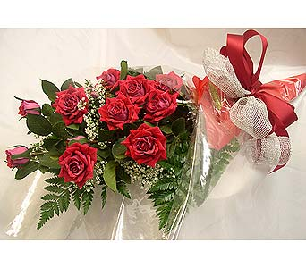 Dz long stem red roses Wrapped in Burlington VT, Kathy and Company Florist
