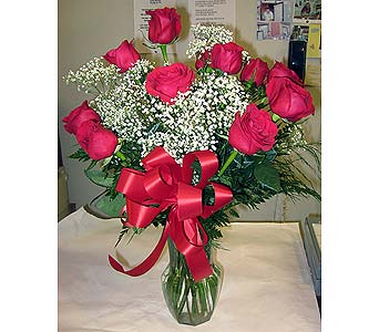 A DOZEN VASED ROSES WITH BABY'S BREATH in New Paltz NY, The Colonial Flower Shop