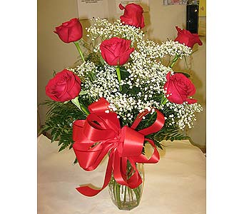 HALF DOZEN ROSES ARRANGED WITH BABY�S BREATH in New Paltz NY, The Colonial Flower Shop