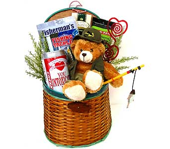 GB287  ''The Love of Fishing'' Gift Basket in Oklahoma City OK, Array of Flowers & Gifts