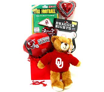 VGB226 ''OU Valentine'' Gift Basket in Oklahoma City OK, Array of Flowers & Gifts