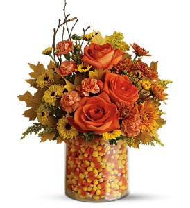 Teleflora's Candy Corn Surprise Bouquet in Bloomington IN, Judy's Flowers and Gifts