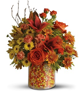 Teleflora's Candy Corn Surprise Bouquet - Deluxe in Crown Point IN, Debbie's Designs