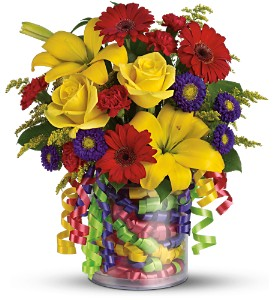 Teleflora's Birthday Ribbon Bouquet - Deluxe in San Antonio TX, Flowers By Grace
