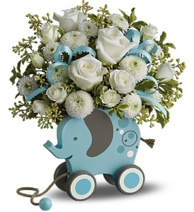 MiGi's Baby Elephant Bouquet by Teleflora - Blue in Lockport NY, Gould's Flowers & Gifts