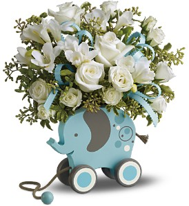 MiGi's Baby Elephant Bouquet Deluxe - Blue in Indio CA, The Flower Patch Florist