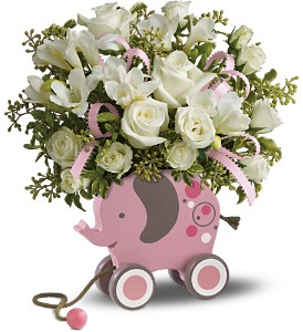MiGi's Baby Elephant Bouquet Deluxe - Pink in Kingston NY, Flowers by Maria