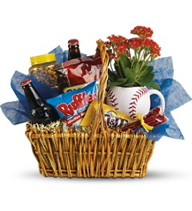 Dad's Play Ball Snack Basket by Teleflora in Houston TX, Awesome Flowers