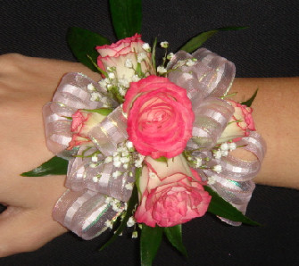 PInk Spray Rose Wrist Corsage in Greenville SC, Expressions Unlimited