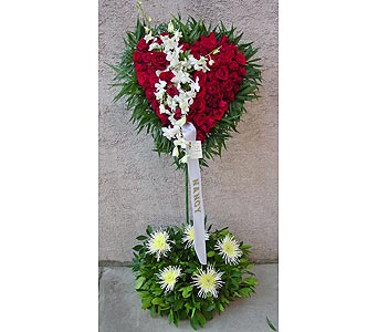 Rose Standing Heart with Dendrodium Orchids in Rockledge PA, Blake Florists