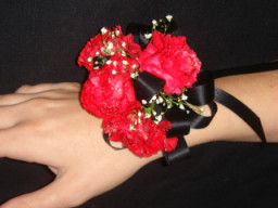 Mini Carnation Wrist Corsage in Greenville SC, Expressions Unlimited