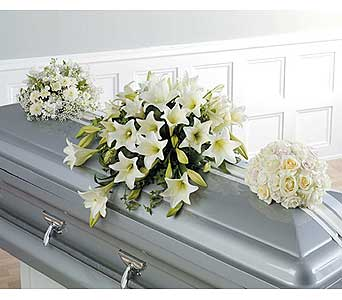 Mixed White/Longiflorum Lily/S.Rose Casket Sprays in West Bloomfield MI, Happiness is...Flowers & Gifts