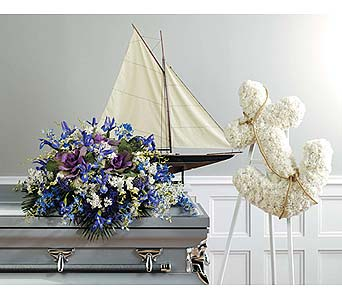 Blue Nautical-Themed Casket Piece in West Bloomfield MI, Happiness is...Flowers & Gifts