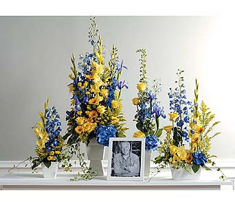 Blue and Yellow Memorial Arrangment in West Bloomfield MI, Happiness is...Flowers & Gifts