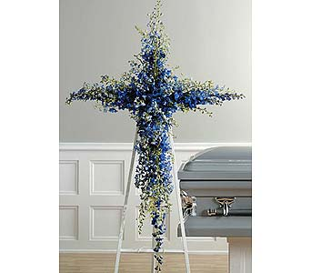 Blue Delphinium Cross in West Bloomfield MI, Happiness is...Flowers & Gifts
