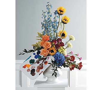 Artist''s Palette Pedestal Arrangement in West Bloomfield MI, Happiness is...Flowers & Gifts