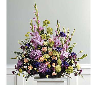 Purple, Peach and Green Traditional Arrangement in West Bloomfield MI, Happiness is...Flowers & Gifts