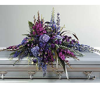 Purple Tone-onTone Casket Spray in West Bloomfield MI, Happiness is...Flowers & Gifts