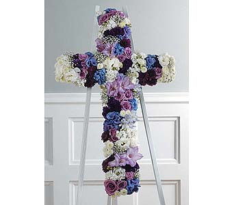 Purple, Lavender, and White Cross in West Bloomfield MI, Happiness is...Flowers & Gifts