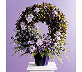 Wreath in Container with Floral Accents in West Bloomfield MI, Happiness is...Flowers & Gifts