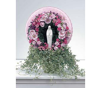 Pink Wreath with Madonna in West Bloomfield MI, Happiness is...Flowers & Gifts