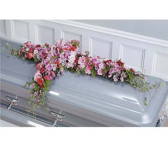 Pink and Magenta Cross Casket Spray in West Bloomfield MI, Happiness is...Flowers & Gifts