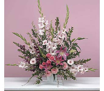 Traditional Pink Fan Arrangement in West Bloomfield MI, Happiness is...Flowers & Gifts