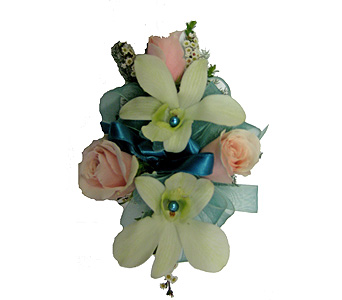 Pink and Teal Wrist Corsage in Wyoming MI, Wyoming Stuyvesant Floral