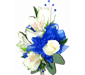Medium Blue Wrist Corsage in Wyoming MI, Wyoming Stuyvesant Floral