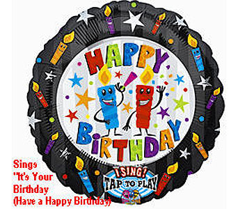 BB326 Birthday Candles 36'' Singing Balloon in Oklahoma City OK, Array of Flowers & Gifts