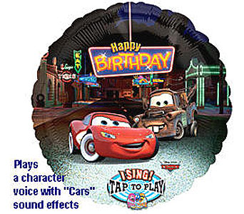 BB331 Cars Birthday 36'' Singing Balloon in Oklahoma City OK, Array of Flowers & Gifts