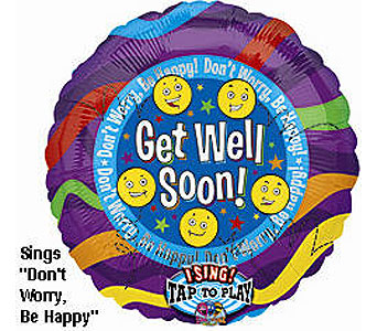 BB324 Be Happy Get Well 36'' Singing Balloon in Oklahoma City OK, Array of Flowers & Gifts