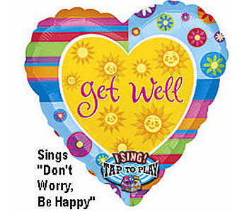 BB325 Get Well Heart 36'' Singing Balloon in Oklahoma City OK, Array of Flowers & Gifts