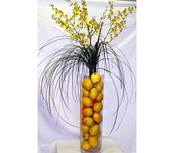Lemon and Orchid Centerpiece in Salisbury MD, Kitty's Flowers