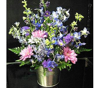 FRENCH COUNTRY ARRANGEMENT IN GALVANIZED BUCKET in New Paltz NY, The Colonial Flower Shop