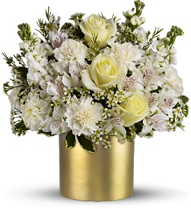Teleflora's Champagne & Gold in Dubuque IA, New White Florist