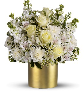 Teleflora's Champagne & Gold - Deluxe in Dubuque IA, New White Florist