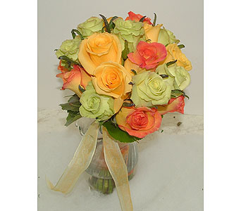 Green,peach,orange roses in Worcester MA, Herbert Berg Florist, Inc.