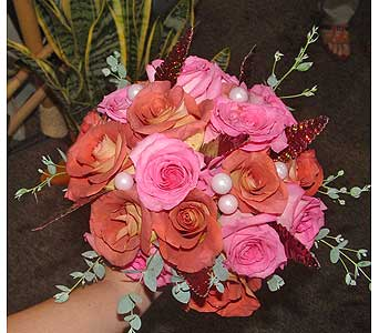 Orange and pink roses in Worcester MA, Herbert Berg Florist, Inc.